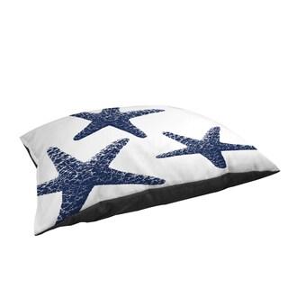 Nautical Nonsense Blue White Starfish Large Rectangle Pet Bed