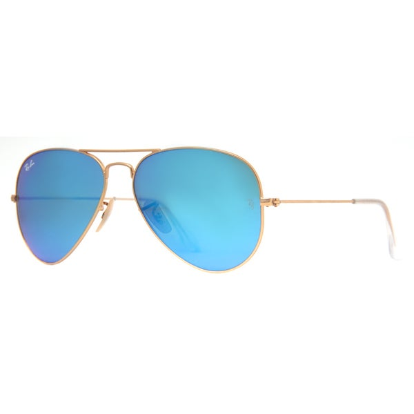 Shop Ray Ban Aviator Rb 3205 Unisex Gold Frame Blue Mirror Lens