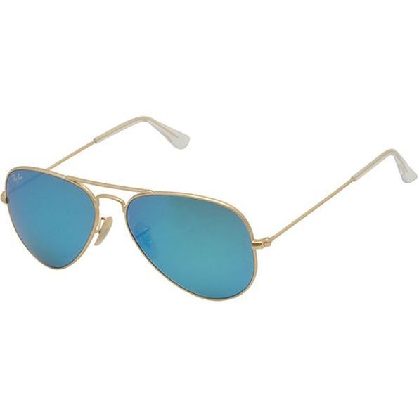 mirrored aviator sunglasses ray ban  Ray- Ban Aviator RB 3205 Unisex Gold Frame Blue Mirror Lens ...