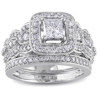 Miadora Signature Collection 14k White Gold 1 1/4ct TDW Certified Diamond Bridal Ring Set (G-H,I1-I2)