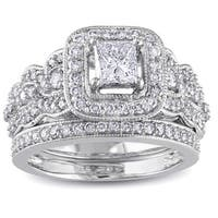 Miadora Signature Collection 14k White Gold 1 1/4ct TDW Certified Diamond Bridal Ring Set