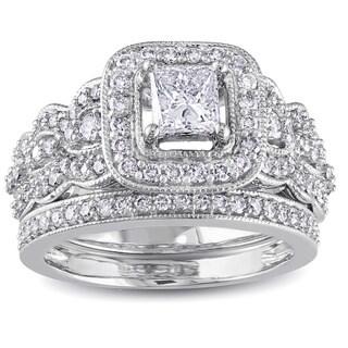 Miadora Signature Collection 14k White Gold 1 1/4ct TDW Certified Diamond Bridal Ring Set