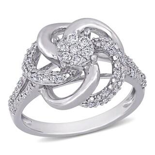 Miadora Sterling Silver 1/3ct TDW Diamond Swirl Ring