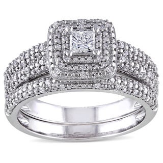 Miadora Signature Collection 14k White Gold 1/2ct TDW Diamond Bridal Ring Set