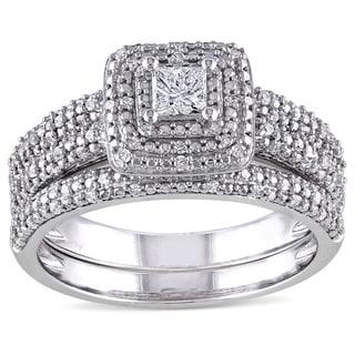 Miadora Signature Collection 14k White Gold 1/2ct TDW Diamond Bridal Ring Set