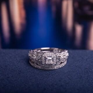 Miadora Signature 14k White Gold 1/2ct TDW Diamond Halo Bridal Ring Set