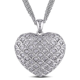 Miadora Sterling Silver 1ct TDW Diamond Heart Necklace