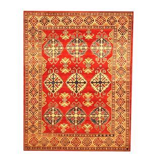 Herat Oriental Afghan Hand-knotted Tribal Kazak Red/ Beige Wool Rug (5'1 x 6'7)