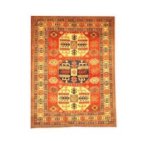 Herat Oriental Afghan Hand-knotted Tribal Kazak Rust/ Beige Wool Rug (4'11 x 6'6)