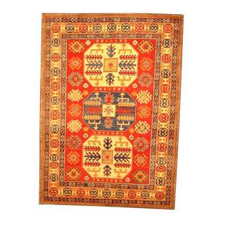 Herat Oriental Afghan Hand-knotted Tribal Kazak Red/ Beige Wool Rug (5'1 x 7')