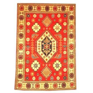 Herat Oriental Afghan Hand-knotted Tribal Kazak Red/ Beige Wool Rug (4'10 x 7'1)