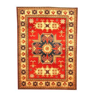 Herat Oriental Afghan Hand-knotted Tribal Kazak Red/ Beige Wool Rug (4'11 x 6'9)