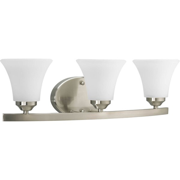 Shop Progress Lighting Silvertone Adorn Collection 3 Light Brushed Nickel Bath Light Free