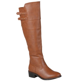 Journee Collection Women's 'Chloe' Regular and Wide-calf Button Detail Knee-high Riding Boot (As Is Item)