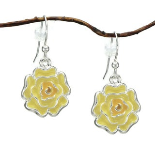 Handmade Jewelry by Dawn Yellow Enamel Flower Dangle Earrings (USA)