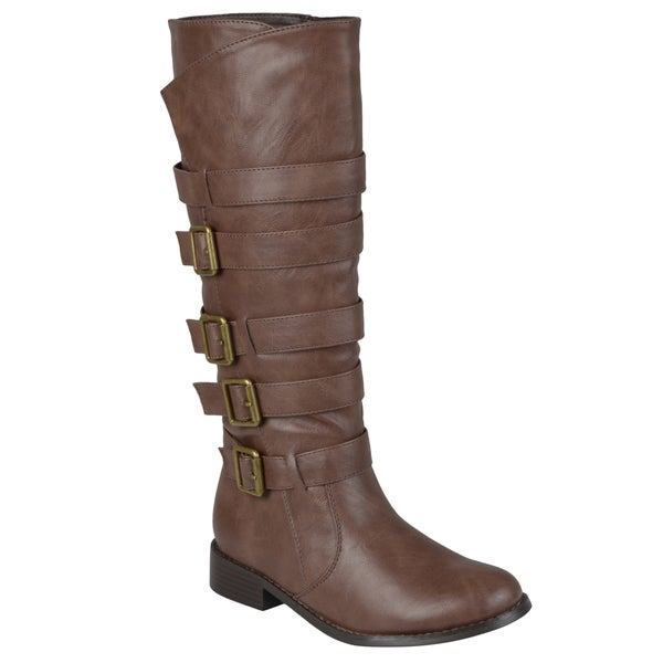 Journee Collection Women's 'Ryder' Regular and Wide-calf Multiple Strap Buckles Knee-high Riding Boot