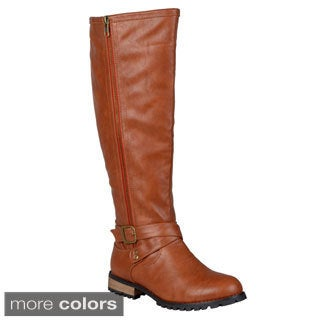 Journee Collection Women's 'Payge' Regular and Wide-calf Side-zipper Knee-high Riding Boot