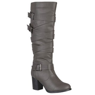 Journee Collection Women's 'Kay' Regular and Wide-calf Buckles Straps Knee-high Dress Riding Boot