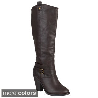Journee Collection Women's 'Claire' Regular and Wide-calf Ankle-strap Buckle Knee-high Dress Boot