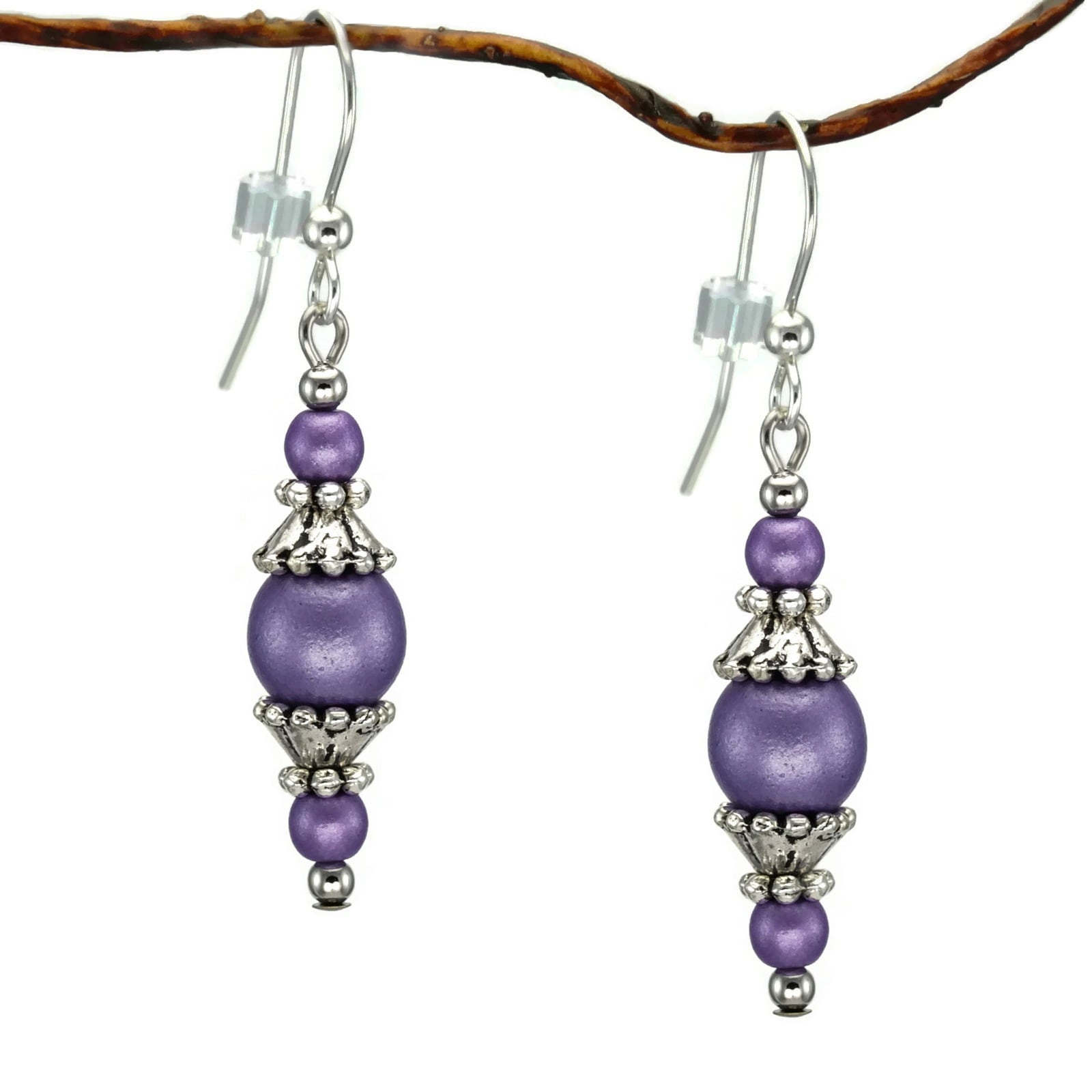 Jewelry by Dawn Round Purple Glass with Pewter Accent Dan...