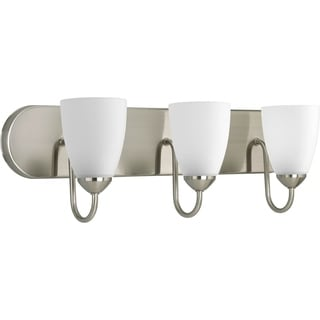 Progress Lighting Silvertone Gather Collection 3-light Brushed Nickel Bath Light