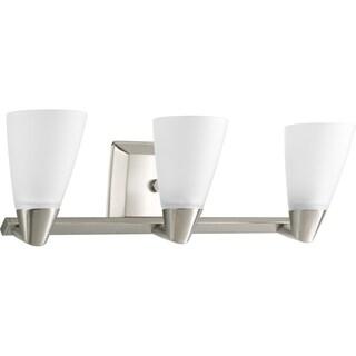 Progress Lighting Silvertone Rizu Collection 3-light Brushed Nickel Bath Light