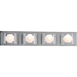 Progress Lighting Silvertone Cliche Collection 4-light Chrome Bath Light With Bulb