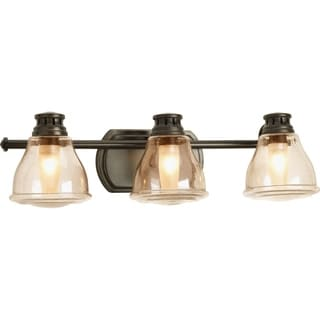 Progress Lighting Bronze Academy Collection 3-light Antique Bronze Bath Light Wih Bulb