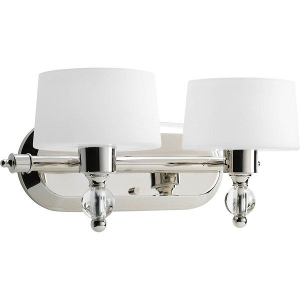 Progress Lighting Silvertone Fortune Collection 2 Light Polished Nickel  Bath Light With Kryoton Bulb