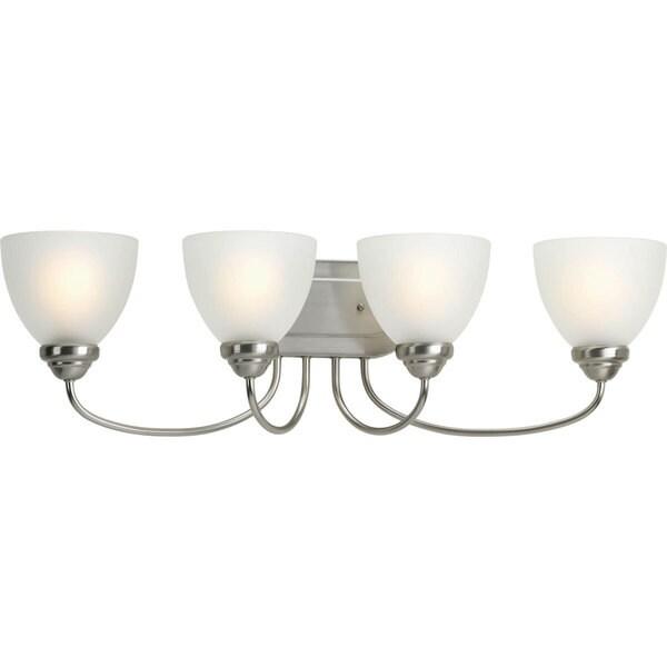 Progress Lighting Silvertone Heart Collection 4-light Brushed Nickel Bath Light