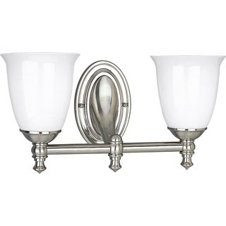 Progress Lighting Silvertone Victorian Collection 2-light Brushed Nickel Bath Light