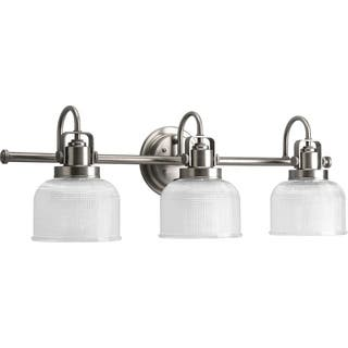 Antique wall lights for less overstock progress lighting silvertone archie collection 3 light antique nickel bath light aloadofball Gallery