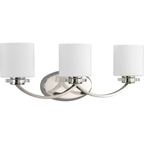 Nisse Collection 3-Light Polished Nickel Opal Etched Glass Luxe Bath Vanity Light