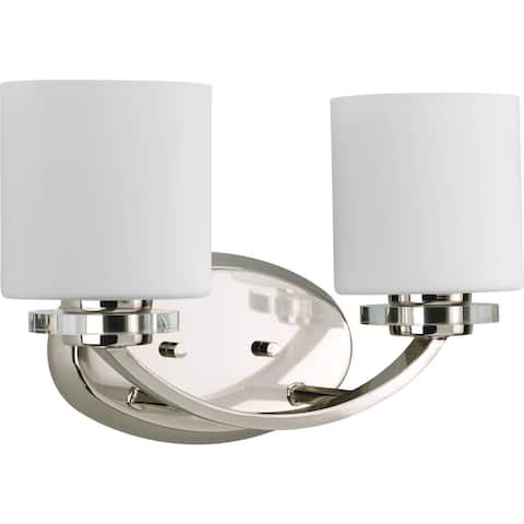 Nisse Collection 2-Light Polished Nickel White Glass Luxe Bath Vanity Light