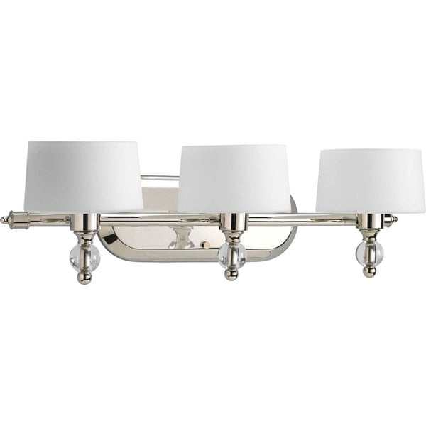 Progress Lighting Silvertone Fortune Collection 3 Light Polished Nickel Bath With Krypton Bulb