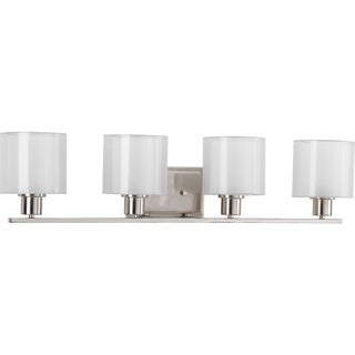 Progress Lighting Silvertone Invite Collection 4-light Brushed Nickel Bath Light