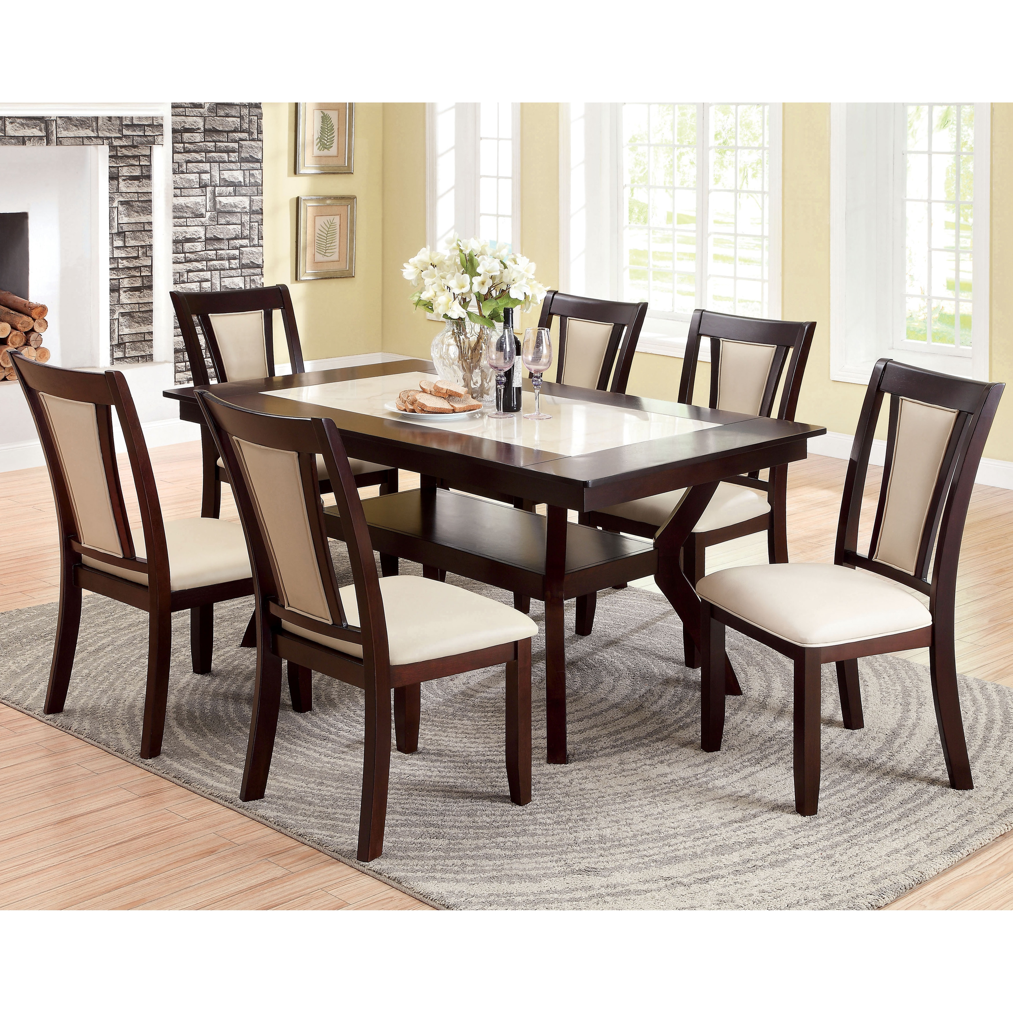 Furniture of America Kateria Dark Cherry 7-piece Dining S...