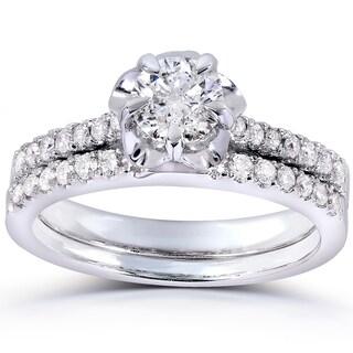 Annello 14k White Gold 5/8ct TDW Round-cut Diamond Bridal Ring Set (H-I, I1-I2)