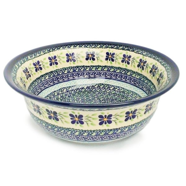 Handmade Blue and Green Polish Stoneware Flared Serving Bowl (Poland). Opens flyout.