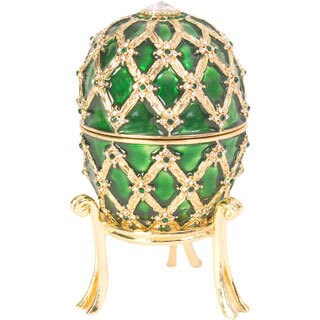 Bejeweled Green with Royal Coach & Ring Holder Egg