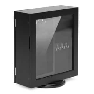 Baxton Studio Ella Dual-Sided Black Tabletop Mirror with Integrated Jewelry Cabinet - Rotating Base|https://ak1.ostkcdn.com/images/products/9352017/P16545005.jpg?impolicy=medium