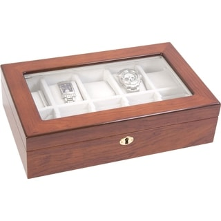 Windowed Rosewood 10-watch Holder