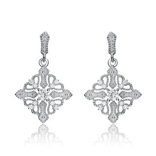 Collette Z Sterling Silver Cubic Zirconia Diamond-shape Dangle Earrings