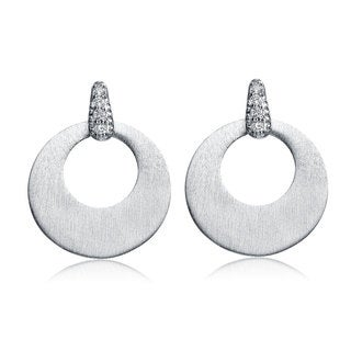 Collette Z Matte Brushed Sterling Silver Cubic Zirconia Round Drop Earrings