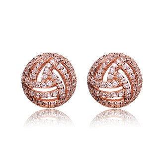 Collette Z Rose Goldplated Sterling Silver Cubic Zirconia Round Stud Earrings