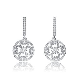 Collette Z Sterling Silver Cubic Zirconia Lace Design Round Drop Earrings