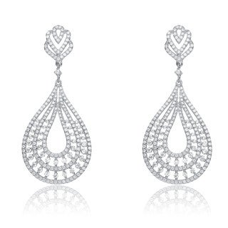 Collette Z Sterling Silver Cubic Zirconia Big Pear Drop Earrings