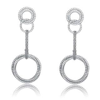 Collette Z Sterling Silver Cubic Zirconia Long Circle Dangling Earrings