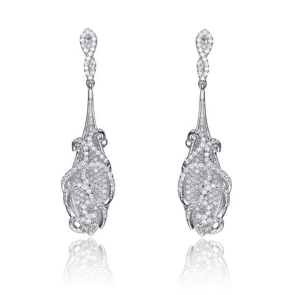 Collette Z Sterling Silver Cubic Zirconia Long Elegant Earrings