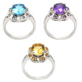 De Buman Sterling Silver Genuine Amethyst, Citrine or Blue Topaz with CZ Gemstone Ring
